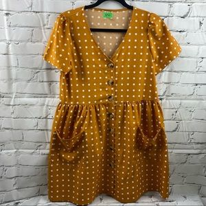 Polka dot mustard button up dress w/ front pocket